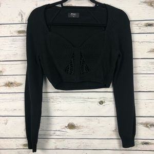 NWT Nasty Gal medium black crop crochet sweater